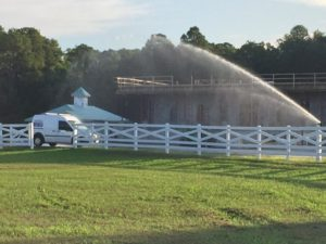 atz irrigation truck at a large commercial property working on a landscape irrigation system